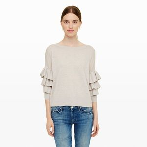 Club Monaco Grey Ruffle Sleeve Cashmere Sweater S